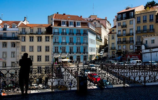 The Chiado District as seen from the train station in Lisbon.