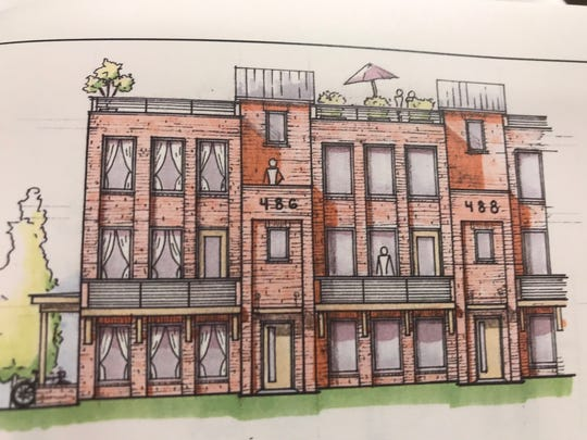 A rendering of a proposed town home development in Mt. Juliet that proposes rooftop decks.