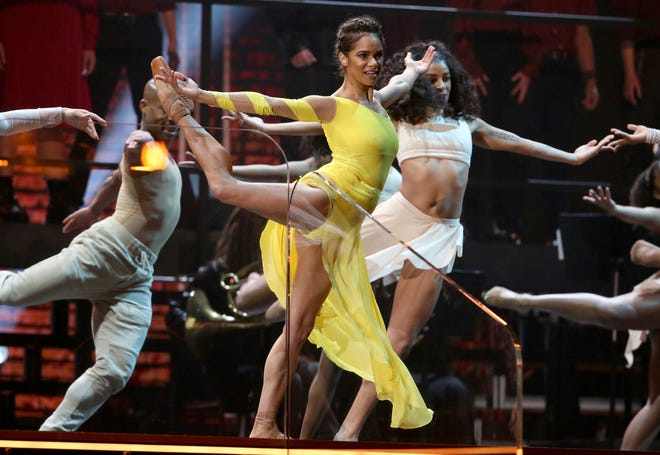 Misty Copeland, center, performs at the 62nd annual Grammy Awards on Sunday, Jan. 26, 2020, in Los Angeles.