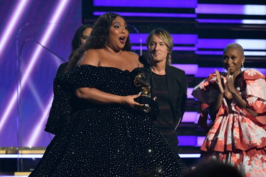 Lizzo accepts the award for best pop solo performance during the 62nd annual GRAMMY Awards on Jan. 26, 2020 at the STAPLES Center in Los Angeles, Calif.