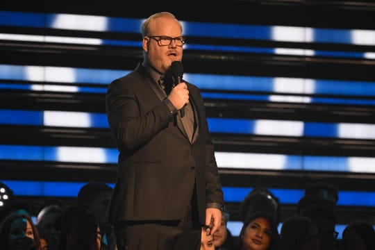 Jim Gaffigan introduces a performance at the Grammy Awards on Jan. 26 in Los Angeles.