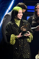 Billie Eilish accepts the award for song of the year during the 62nd annual GRAMMY Awards on Jan. 26, 2020 at the STAPLES Center in Los Angeles, Calif.