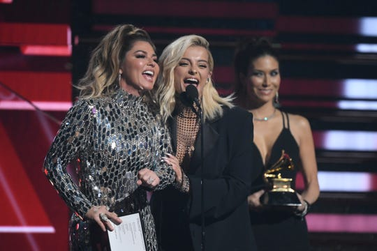 Shania Twain (left) and Bebe Rexha present the award for best country duo/group performance during the 62nd annual GRAMMY Awards on Jan. 26, 2020 at the STAPLES Center in Los Angeles, Calif.