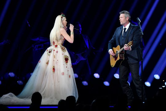 Blake Shelton (right) performs 'Nobody but you' with Gwen Stefani during the 62nd annual GRAMMY Awards on Jan. 26, 2020 at the STAPLES Center in Los Angeles, Calif.