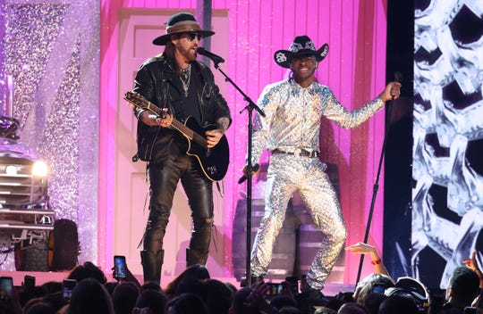 Billy Ray Cyrus, left, and Lil Nas X perform at the 62nd annual Grammy Awards on Sunday, Jan. 26, 2020, in Los Angeles.