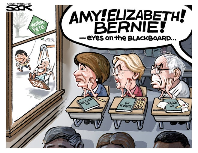 Democratic senators in classroom.