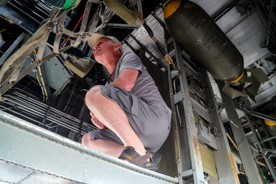 Robert Schmidt of Mooresville, Indiana, walks through the war plane. he WWII warbird  B-24 Liberator bomber arrived in Fort Myers Monday afternoon, January 27, 2020.