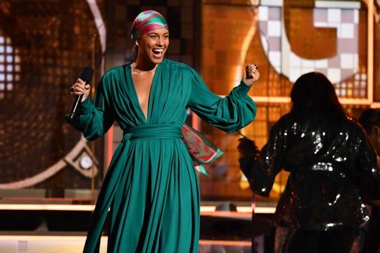 Alicia Keys hosts the Grammy Awards on Jan. 26, 2020, in Los Angeles.