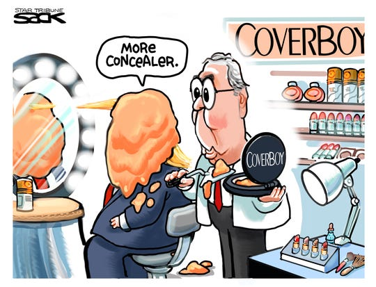 McConnell applies concealer.