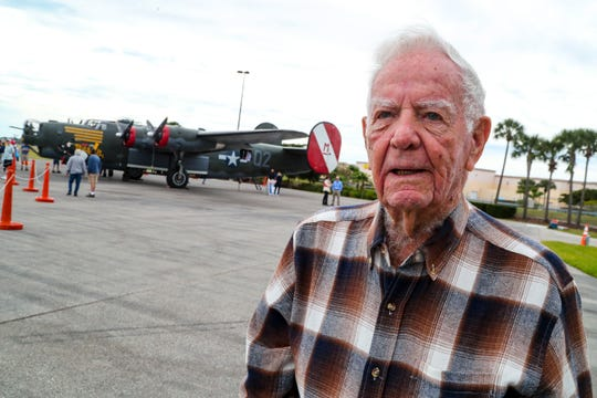 Former warbird pilot, Paul Jones, 96, of Fort Myers, had flown a plane line this in World War II. He stopped by to see the plane once again. The WWII warbird  B-24 Liberator bomber arrived in Fort Myers Monday afternoon, January 27, 2020.