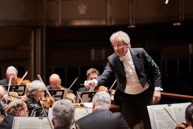 Franz Welser-Möst, music director for The Cleveland Orchestra, at a recent concert with the orchestra in Severance Hall, Cleveland.