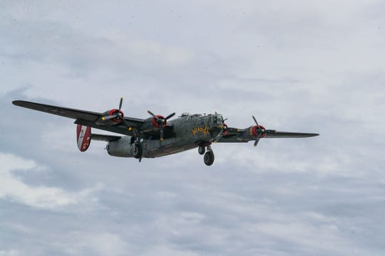The plane flies over downtown Fort Myers on its way to Page Field. The WWII warbird  B-24 Liberator bomber arrived in Fort Myers Monday afternoon, January 27, 2020, as part of the Wings of Freedom tour.