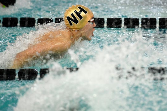 Taite Lee of Northern Highlands competes in the 200-yard individual medley during the Bergen County Meet of Champions on Sunday, Jan. 26, 2020, in West Nyack.