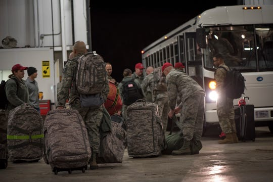 Airmen of the Ohio Air National Guard, 200th RED HORSE Squadron, Mansfield, Ohio, depart for Puerto Rico following activation by Ohio Gov. Mike DeWine in response to Puerto Rico earthquake relief efforts, Jan. 17, 2020. Along with personnel, the Ohio National Guard unit is contributing two Disaster Response Bed-down Systems, each of them self-sufficient with organic power and potable water systems which provides billeting, health and hygiene support for 150 people in support of domestic response activities. (