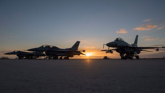 Three F-16 Vipers on the flightline, Jan 15, 2020, on Key West Naval Air Station, Fla. There were approximately 180 Airmen and 16 F-16 fighter jets transported to Key West from Holloman Air Force Base, N.M. to allow the basic course pilots in the 311th Fighter Squadron to complete dissimilar air combat training.