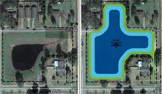 A map shows the footprint of the expanded stormwater pond at Cross Street and 12th Avenue