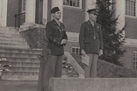 David Houck (left) during his time as student commander of the ROTC program at Gettysburg College.