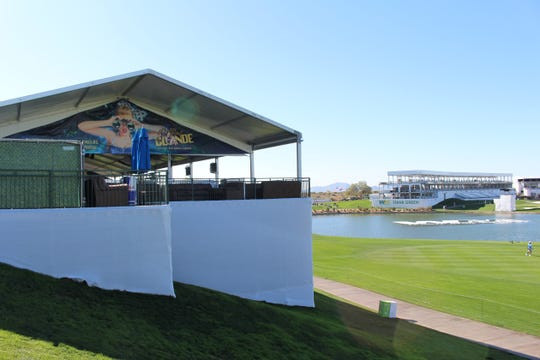 The Bottled Blonde bar and beer garden is located behind the 18th hole at the Waste Management Phoenix Open.