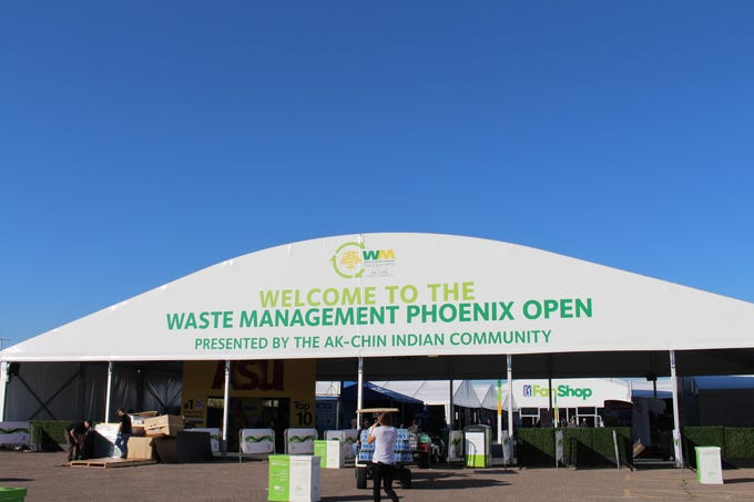 The entrance of the 2020 Waste Management Phoenix Open golf tournament in Scottsdale.