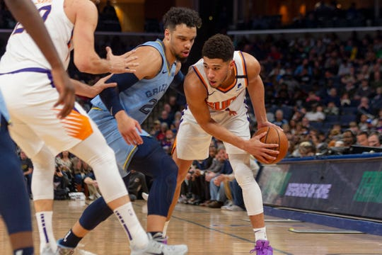 Jan 26, 2020; Memphis, Tennessee, USA; Phoenix Suns guard Devin Booker (1) handles the ball against Memphis Grizzlies guard Dillon Brooks (24) during the first half  at FedExForum. Mandatory Credit: Justin Ford-USA TODAY Sports