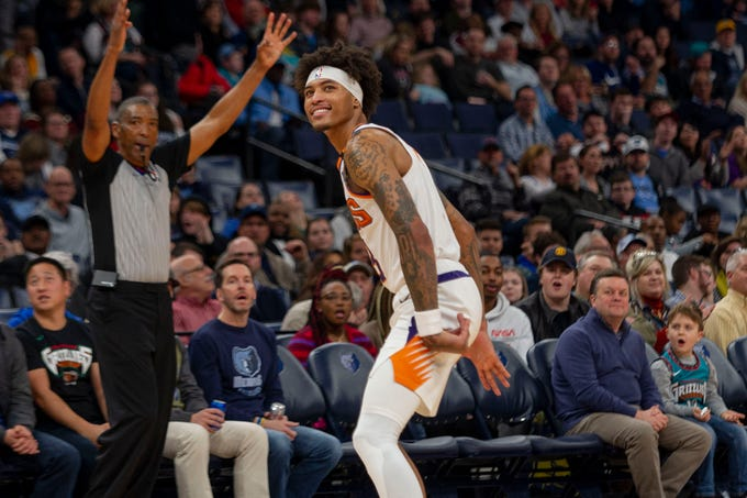 Jan 26, 2020; Memphis, Tennessee, USA; Phoenix Suns forward Kelly Oubre Jr. (3) reacts during the first half against the Memphis Grizzlies at FedExForum. Mandatory Credit: Justin Ford-USA TODAY Sports