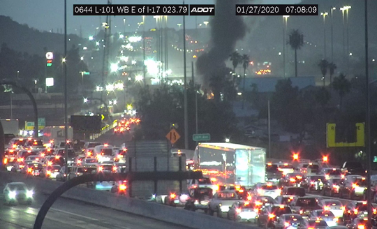 Loop 101 was backed up due to a vehicle fire near the ramps with Interstate 17 on Jan. 27, 2019.