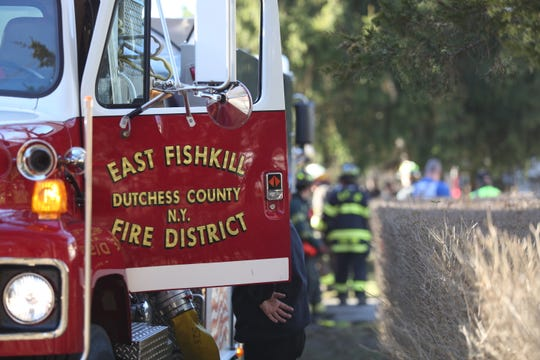 A view of an East Fishkill Fire District truck at the scene of a basement fire on Jan. 12, 2020.