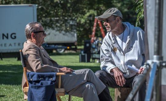 "Poughkeepsie native Richard Baratta, right, and Joe Pesci sit on the set of ""The Irishman."""