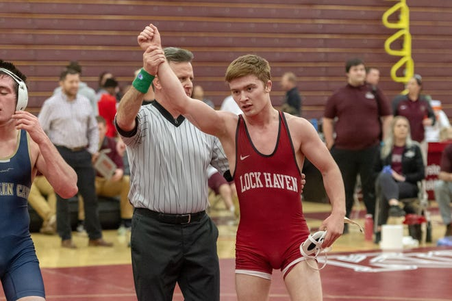 Dalton Rohrbaugh, right, has his hand raised after winning the Pennsylvania State Athletic Conference championship while at Lock Haven in 2019. Rohrbaugh announced he will transfer to York College for his final two seasons.