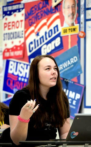 Senior Delaney Jess makes a point during an AP government class at Red Lion High School Monday, January 27, 2020. Bill Kalina photo