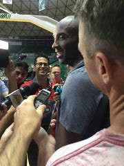 York Suburban grad Mark Medina (center, glasses) interviews NBA legend Kobe Bryant. The former Los Angeles Lakers star died on Jan. 26, 2020 with his 13-year-old daughter and seven others in a helicopter crash.