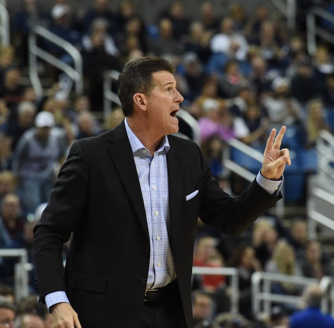 Nevada basketball head coach Steve Alford coaches against UNLV at Lawlor Events Center last season.