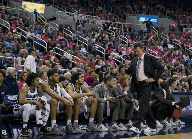 Nevada head coach Steve Alford during the New Mexico at Nevada basketball game in Reno, Nev., Saturday, Jan. 25, 2020.