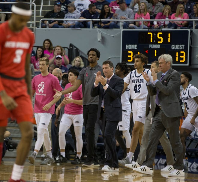 Nevada head coach Steve Alford is shown during the New Mexico at Nevada basketball game on Jan. 25, 2020.