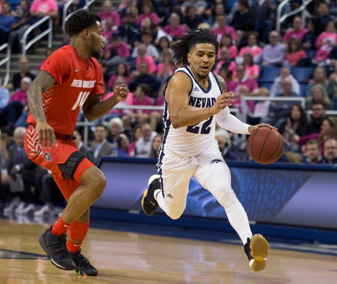Saturday will be the final home game for Nevada guard Jazz Johnson (22) and his Wolf Pack teammates.