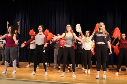 "From left, Lea Mancarella, Gabriella Graney, Lizzy Bernold and Ava LeBoo at a recent rehearsal for Brighton High School's presentation of ""High School Musical."""