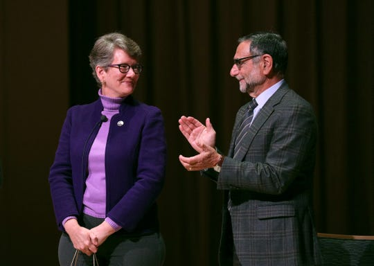 Elizabeth Paul is the new president of Nazareth College.  Current President Daan Braveman, right, was part of the introductory ceremony Monday, January 27, 2020.