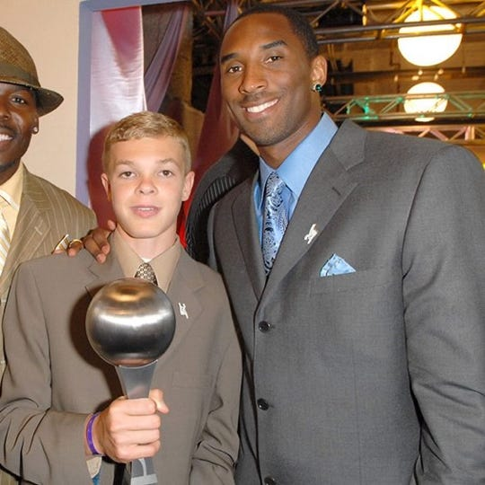 "Rochester's Jason McElwain,left, and Kobe Bryant at the 2006 Espy Awards. J-Mac won ""Best Moment'' in sports for his inspiring shooting display as a high-functioning autistic team manager at Greece Athena, beating out Bryant's 81-point game against Toronto."