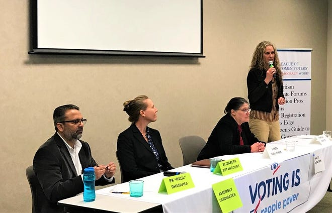 State Senate candidate Pamela Swartz of Nevada County answers a question during a candidates forum Sunday, January 26, 2020 at the Redding Library. Paul Dhanuka, left and Elizabeth Betancourt are running for District 1 state Assembly, while Linda Kelleher, second from right is also running for State Senate in District 1.