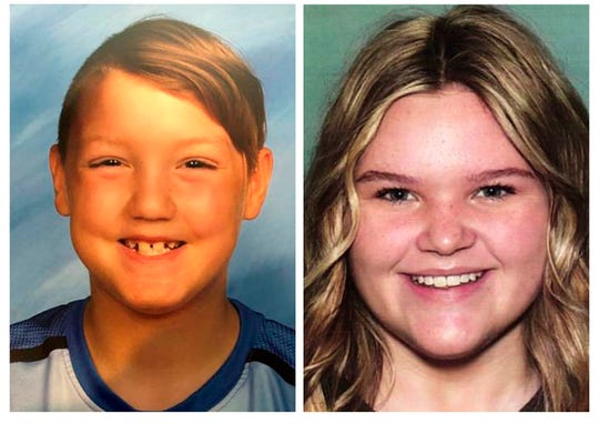 "This combination photo of undated file photos, released by the National Center for Missing & Exploited Children, shows missing children Joshua ""JJ"" Vallow, left, and Tylee Ryan. Police say the mother of two missing kids has been found in Hawaii, along with her new husband, but the children still have not been located."