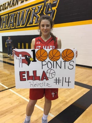 Ella Heinitz  scored her 1,000th career point for Dell Rapids St. Mary on Jan. 24.