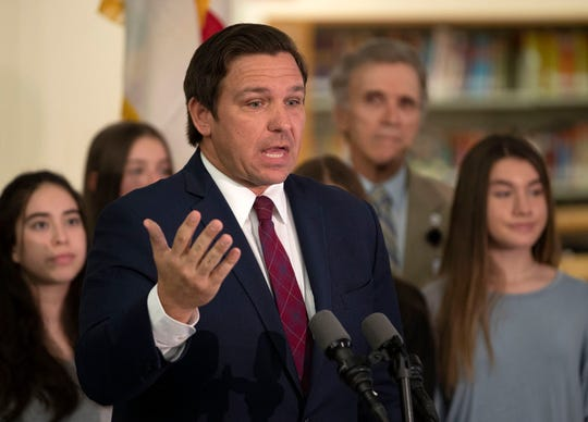 Gov. Ron DeSantis announced a partnership with Marcus Foundation to expand opportunities for high school students to compete in speech and debate statewide and to provide more of those classes in middle schools during a press conference at Omni Middle School in Boca Raton, Monday, Jan. 27, 2020.