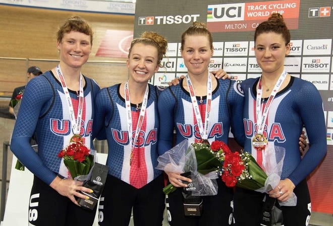 Former Chiles High star athlete Lily Williams, left, helped Team USA win cycling gold at the UCI World Cup VI.