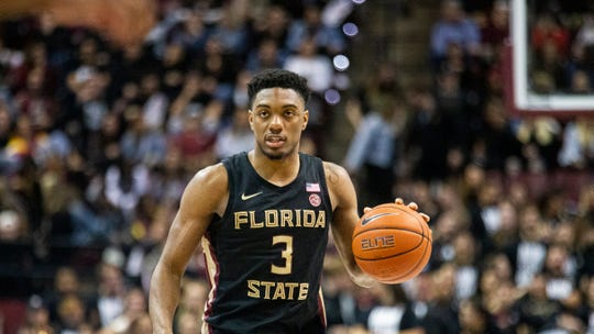 Florida State guard Trent Forrest (3) brings the ball up court against Notre Dame in the second half of an NCAA college basketball game in Tallahassee, Fla., Saturday, Jan. 25, 2020. (AP Photo/Mark Wallheiser)