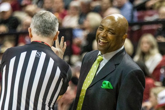 Florida State head coach Leonard Hamilton reacts to a call in the second half of an NCAA college basketball game against Notre Dame in Tallahassee, Fla., Saturday, Jan. 25, 2020. (AP Photo/Mark Wallheiser)