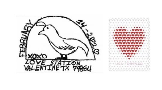 The Valentine's Day postmark that can be added to any card this holiday.