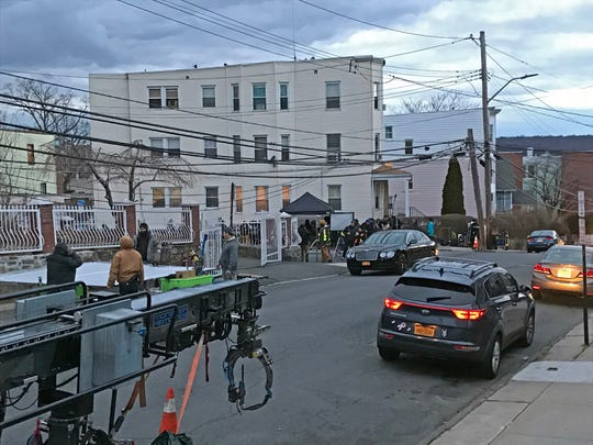 "Showtime's ""Billions"" crew sets up to film a car crash scene on Cedar Street in Yonkers Jan. 27, 2020."