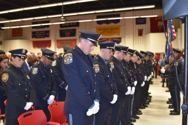Rockland County police recruits at graduation from the Police Academy