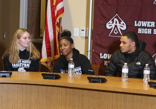 Current student athletes at Lower Merion High School, Bridget McCann (left), Alexis Hunter (center) and James Simples (right) speak about the sudden passing of Kobe Bryant.