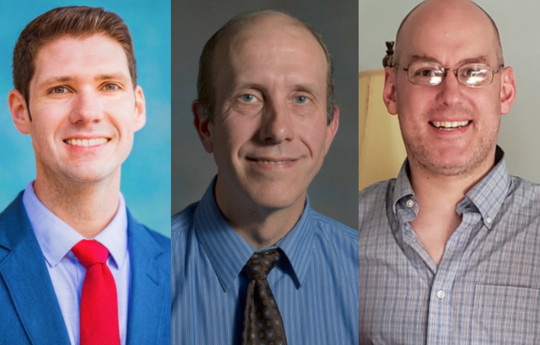 Wisconsin Rapids Mayor Zach Vruwink (left), Shane Blaser (middle) and Patrick Delaney (right) will face off in the mayoral primary race Feb. 18.